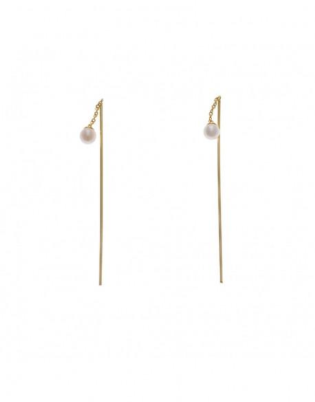 Pendientes de plata bañada en oro amarillo y perla