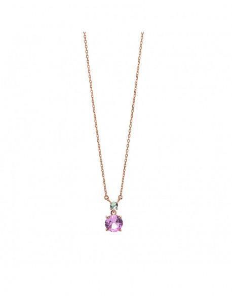 Collar de plata bañada en oro rosa con circonita