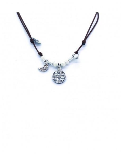 Collar de plata con circonita y nylon