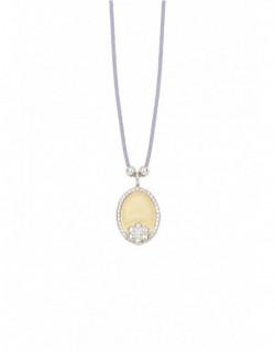 Collar dor groc i plata, amb un diamant i nylon