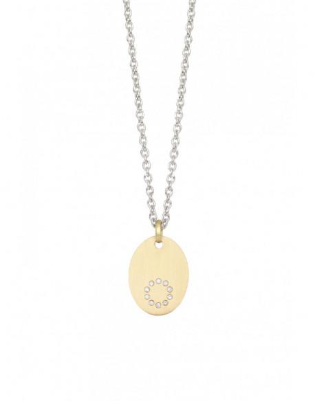 Collar de oro amarillo y plata con diamantes