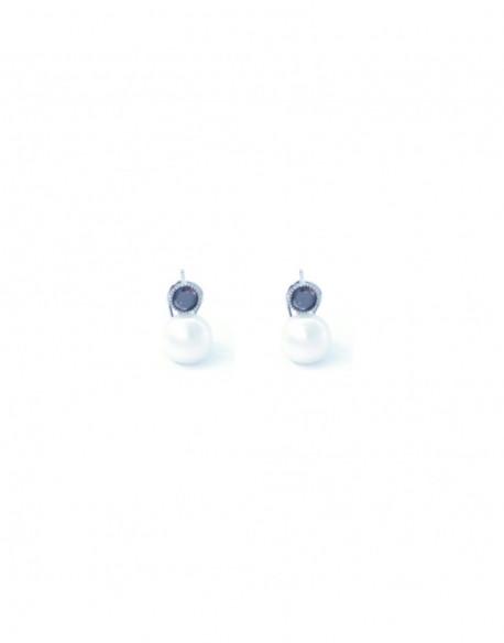 Pendientes de plata con perla y circonita
