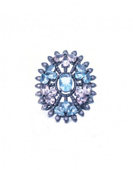 Anell de plata amb zirconita de color