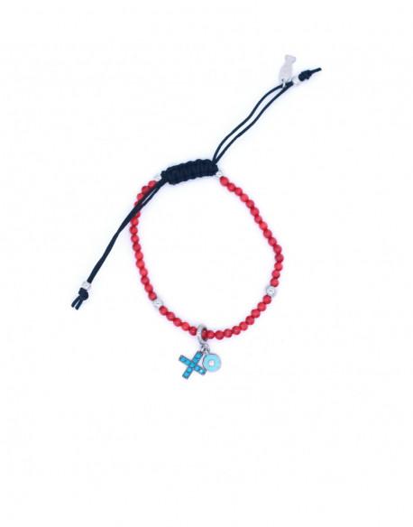 Pulsera de plata con agatha roja, turquesa y nylon