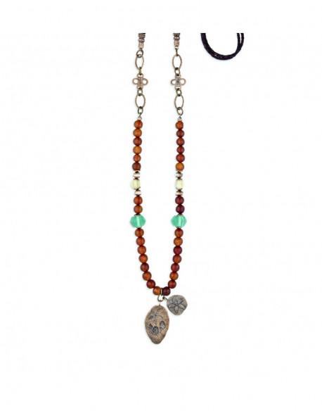 Collar de bronce con resina, cristal y cuero