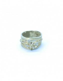 Anell de plata banyada en or groc amb zirconita