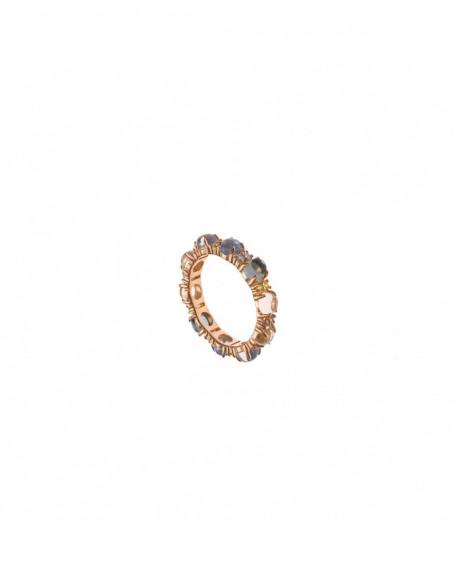 Anillo de plata bañada en oro rosa con circonita