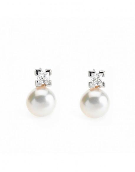 Arracades de plata amb perla i zirconita