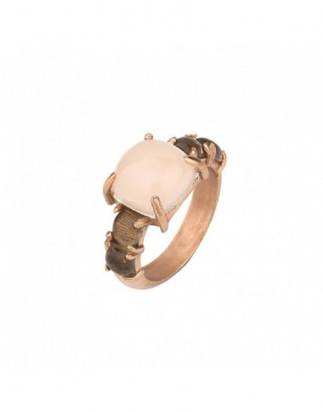 Anell de plata banyada en or rosa amb qu