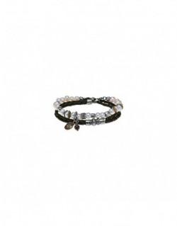 Polsera de plata amb perla, zirconita i cuir