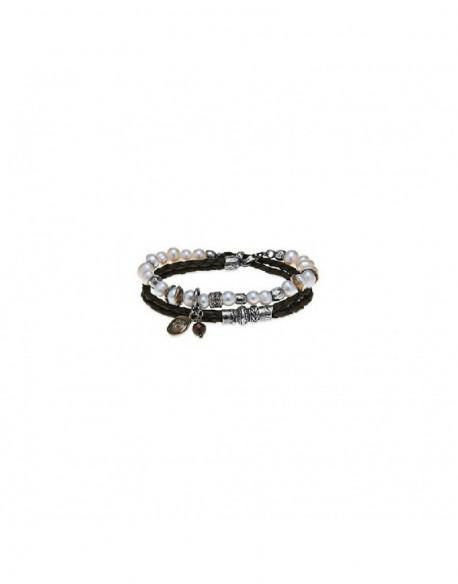 Polsera de plata amb perla, zirconita i