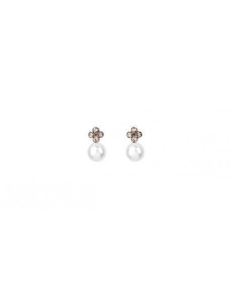 Arracades de plata amb zirconita i perla