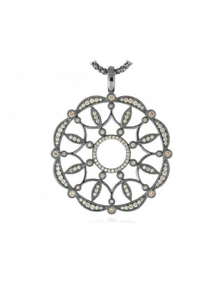 Collar de plata con rutenio y circonita