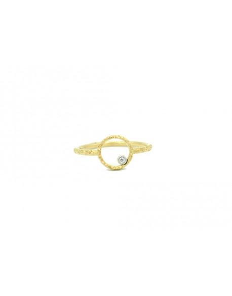 Anell dor groc amb un diamant de 0.015 quilats