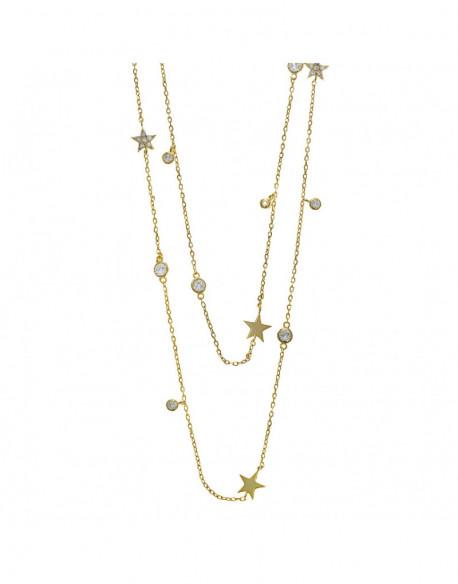 Collar de plata bañada en oro amarillo con circonita