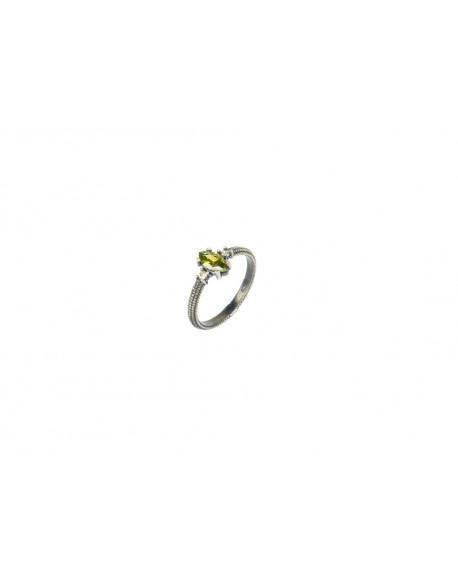 Anell de plata amb peridot i zirconita