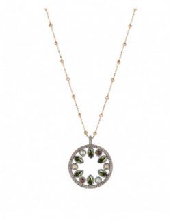 Collar de plata amb peridot, calcedonia, quars rosa, turmalina rosa i zirconita