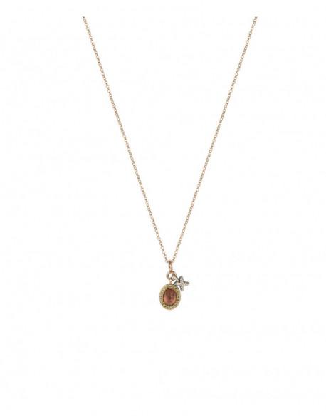 Collar de plata banyada en or rosa amb turmalina i zirconita