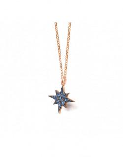Collar d'or rosa amb topaç london blau