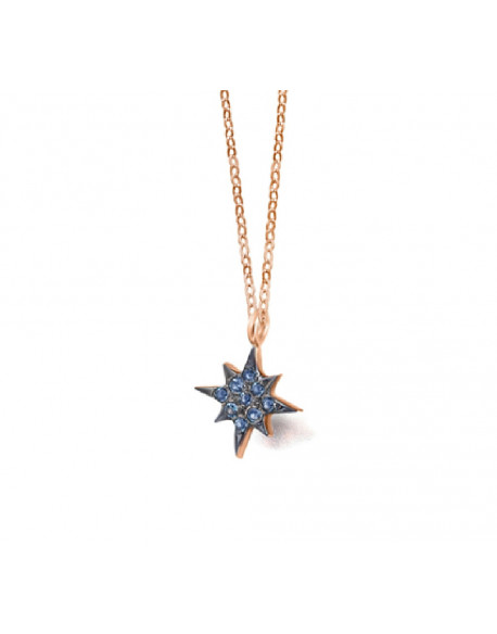 Collar dE orO rosa con topacio london azul