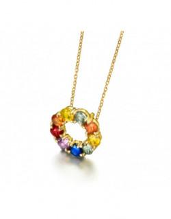 Collar de oro amarillo con zafiros de color