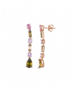 Pendientes de plata bañada en oro rosa con circonita