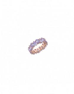 Anell de plata banyada en or rosa amb zi