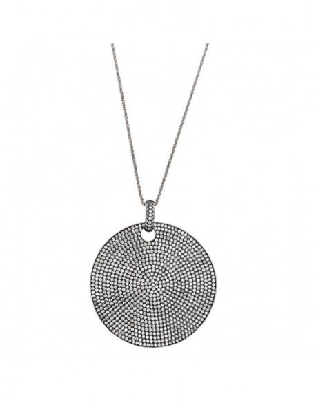 Collar de plata enegrecida con circonita