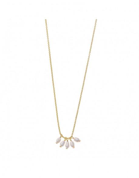 Collar de plata bañada en oro amarillo con perla