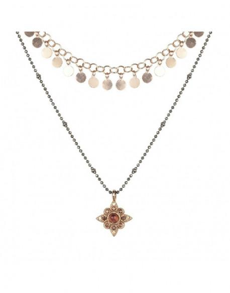 Collar de plata rodiada y bañada en oro rosa con turmalina y circonita