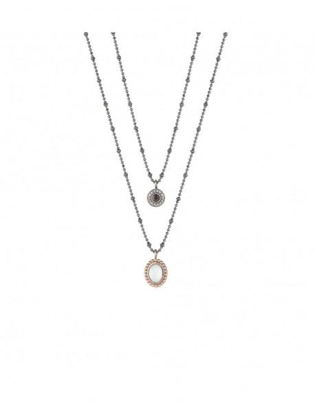 Collar de plata bañada en oro rosa con calcedonia y circonita
