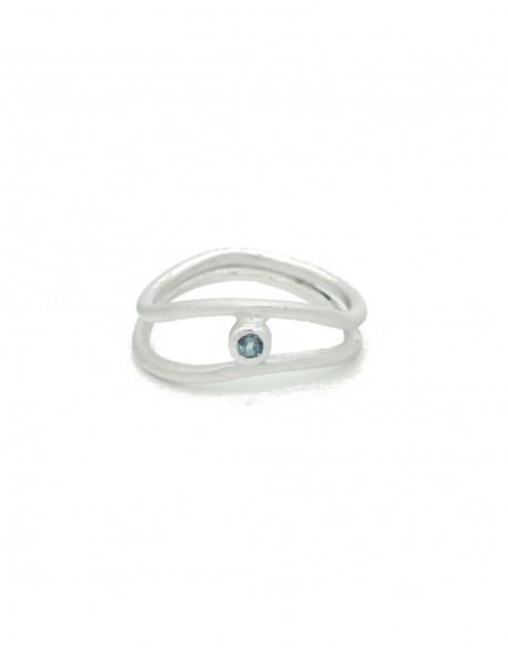 Anell de plata amb topaç blau