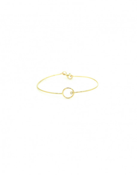 Polsera d'or groc amb un diamant de 0.03