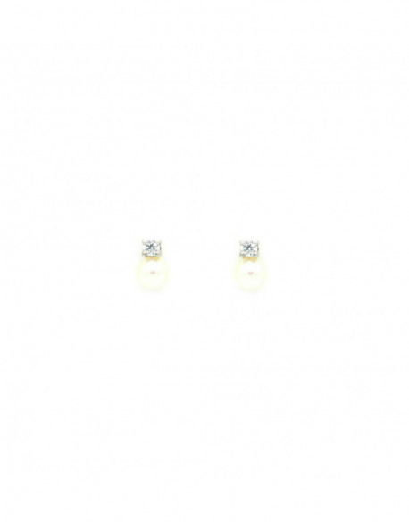 Pendientes de oro blanco con perla y circonita