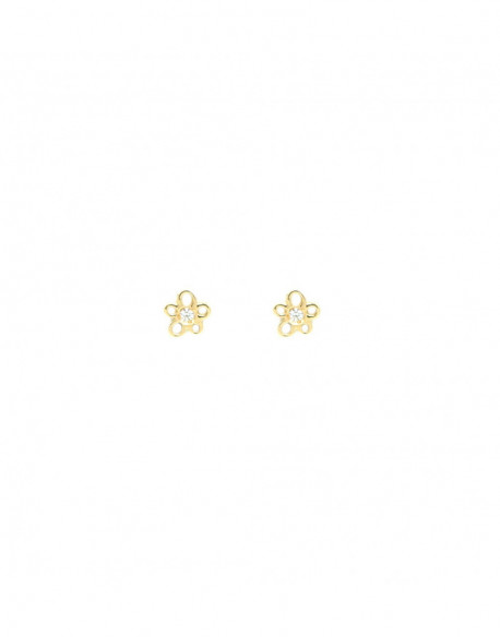Pendientes de oro amarillo con circonita