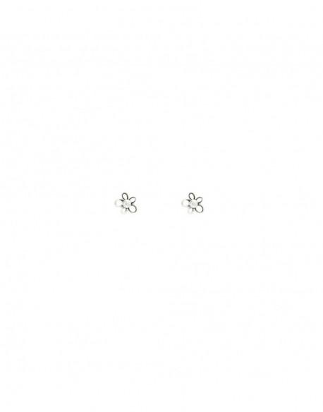 Pendientes de oro blanco con dos diamantes de 0.02 quilates