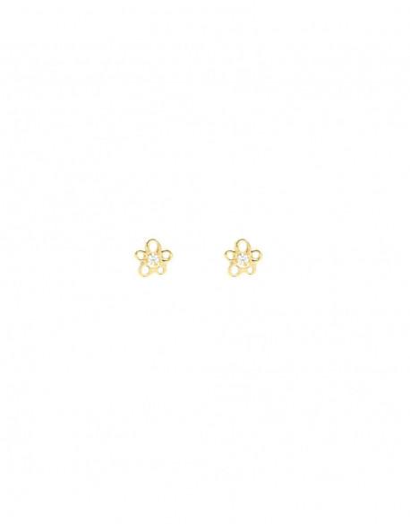 Pendientes de oro amarillo con dos diamantes de 0.02 quilates