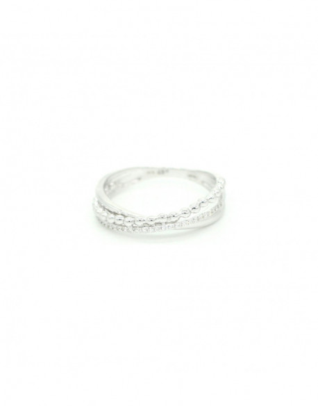 Anillo de oro blanco con diamantes de  0.115 quilates